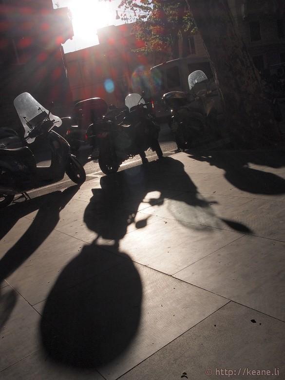 Scooters along Via Merulana