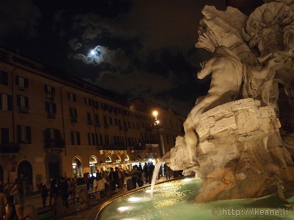 Full moon and the Fontana dei Quattro Fiumi in Piazza Navona