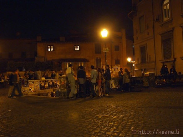 Outside Freni e Frizioni in Trastevere at Night