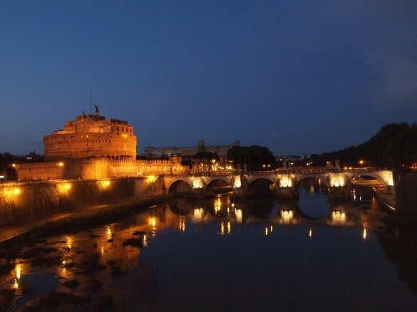 Rome in the Rain - Castel Sant'Angelo and the Ponte Sant'Angelo at Night