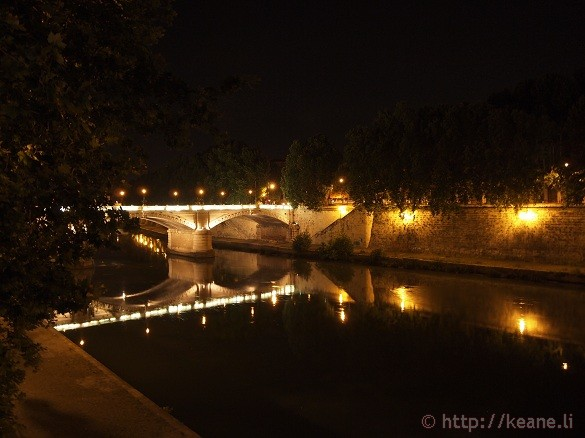 Summer Nights in Rome - Illuminated bridge along the Tevere
