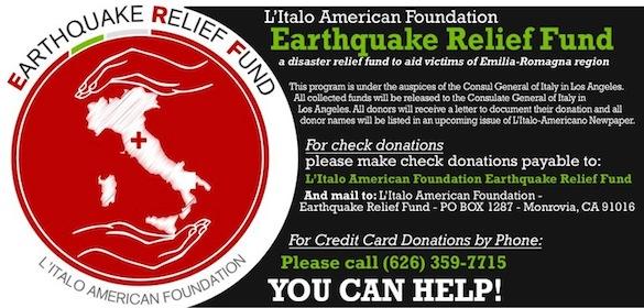 L'Italo Americano Newspaper's Relief Fund for Emilia-Romagna