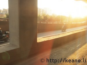 Sunrise and scooter in Kunming