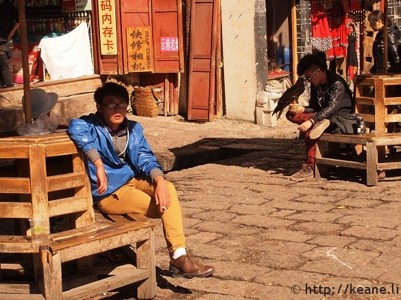 #redpants and hawk in Lijiang Old Town