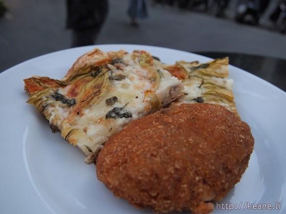 Pizza and supplì at Panarte along Via Merulana