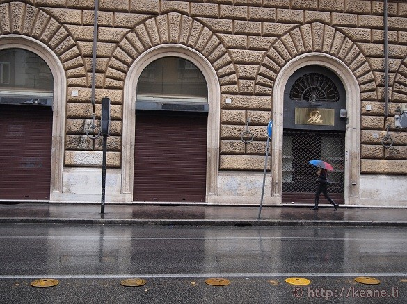 Girl in Rain in Prati, Rome