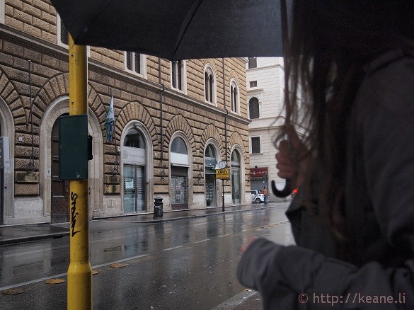 Girl Holding Umbrella in Prati, Rome