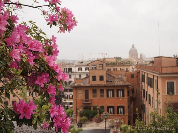 View from the Spanish Steps in Rome on a Rainy Day