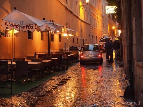 Alleyway near the Fontana di Trevi in the Rain