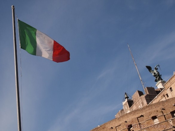 Italian flag over Castel Sant'Angelo in Rome