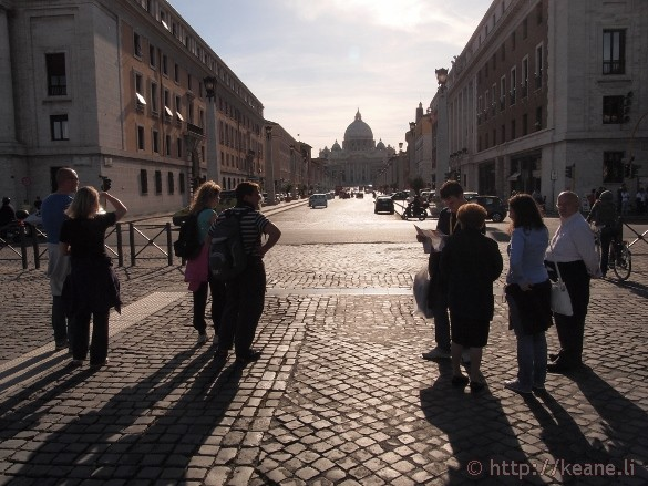 Looking onward to St. Peter's Basilica from Castel Sant'Angelo in Rome