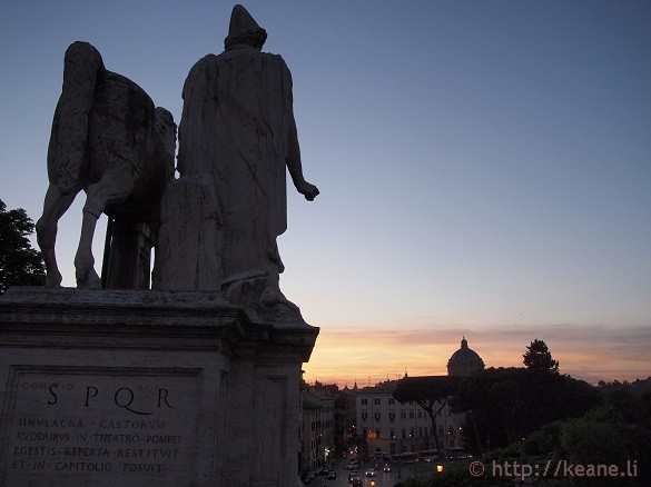 Marble Statue on Campidoglio Looks as Night Comes to Rome