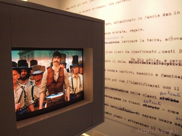 Cinecittà - Room dedicated to scripting and screenplays with video of 'Gangs of New York'