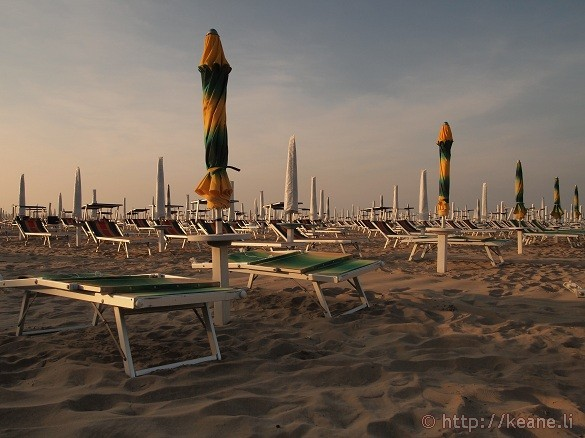 Beach chairs along the Rimini beachfront