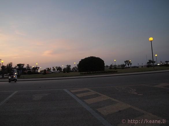 Sun setting in Rimini and motorino