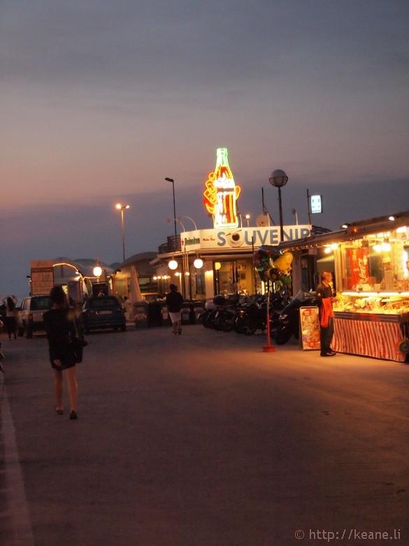 The Rimini pier at night