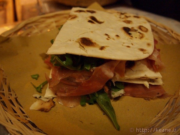 Piadina at La casina del bosco