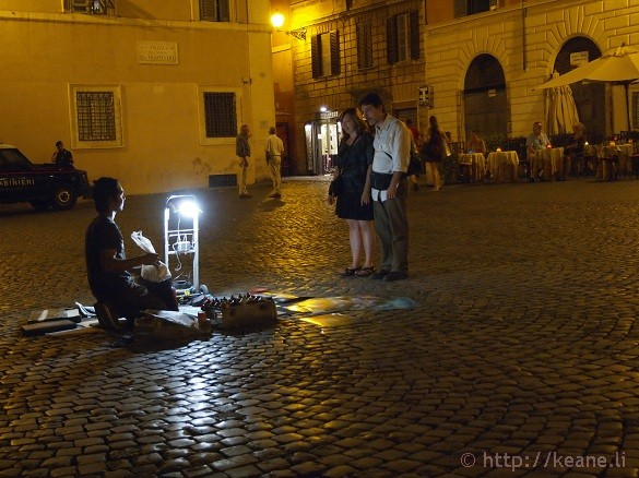 Summer Nights in Rome - Street artist in Trastevere