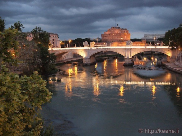 Rome - Castel Sant'Angelo and Tevere river at night