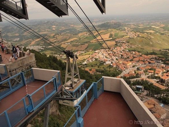 View from the top of San Marino and Cable Car
