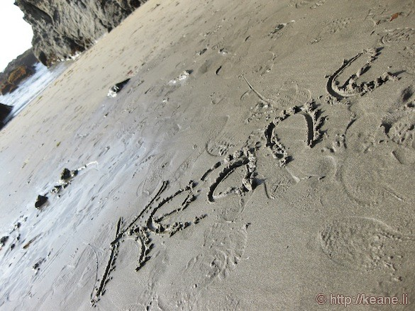 Name in Sand at Glass Beach in Fort Bragg