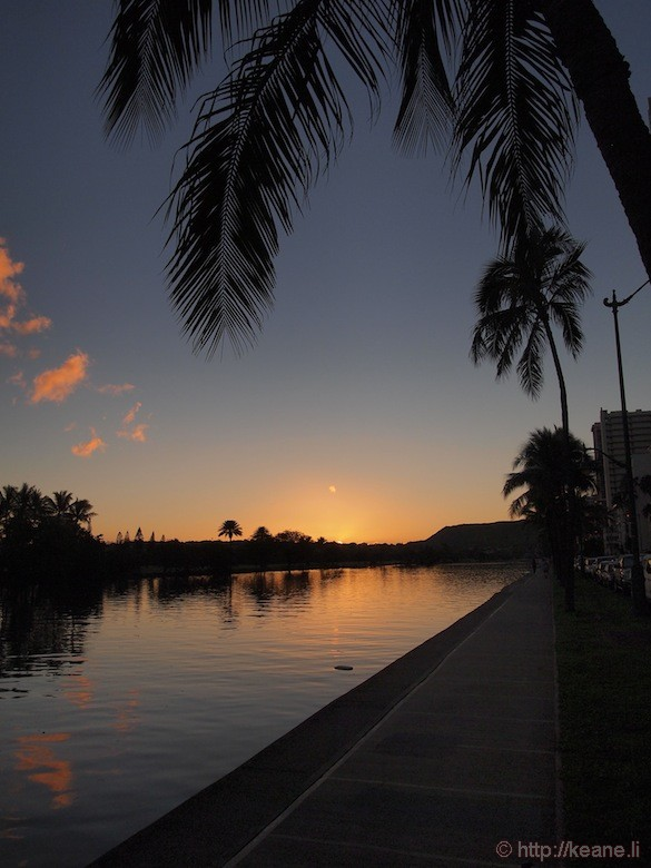 Sunrise along the Ala Wai Canal in Waikiki
