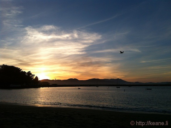Aquatic Park Sunset with Golden Gate Bridge