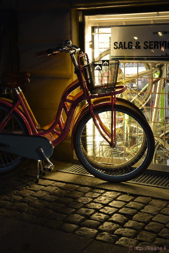 Bike Shop at Night in Copenhagen