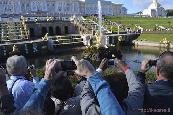Peterhof Fountains Turning On