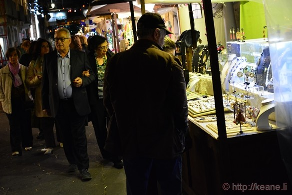 Vendors on a Sidestreet of Via Etnea at Night