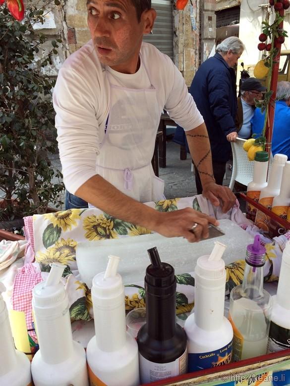 Man Making a Granita at Ballaro' Street Market