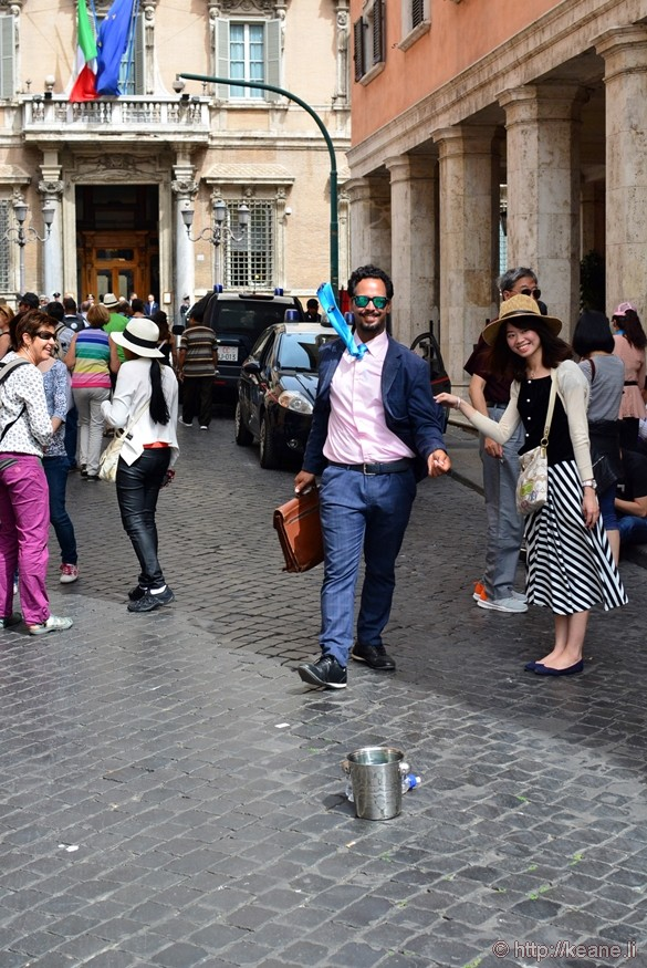 Street Performer and Tourist in Piazza Navona