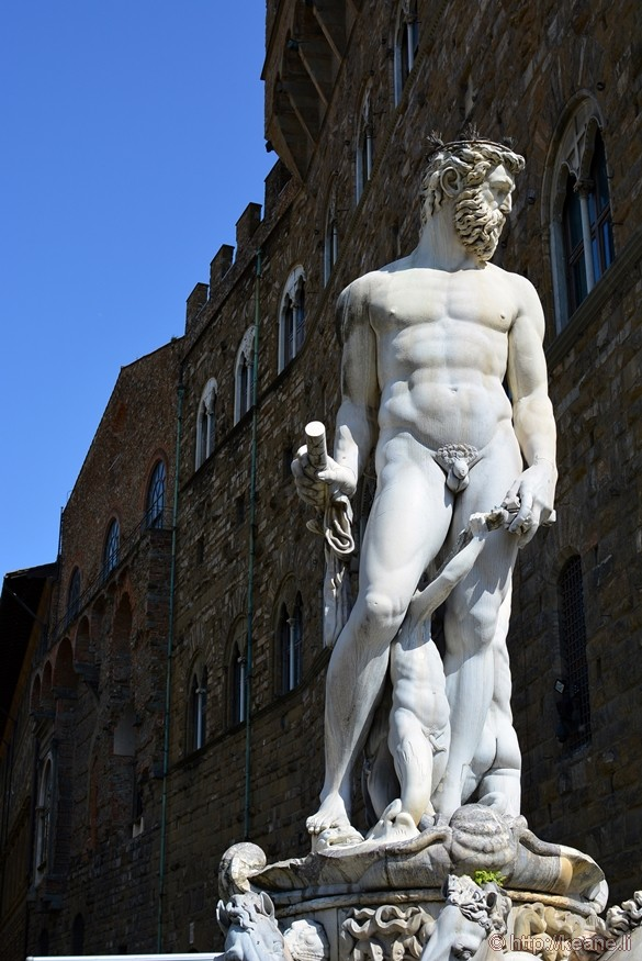 Fountain of Neptune in the Perseus and David Statues in the Piazza della Signoria