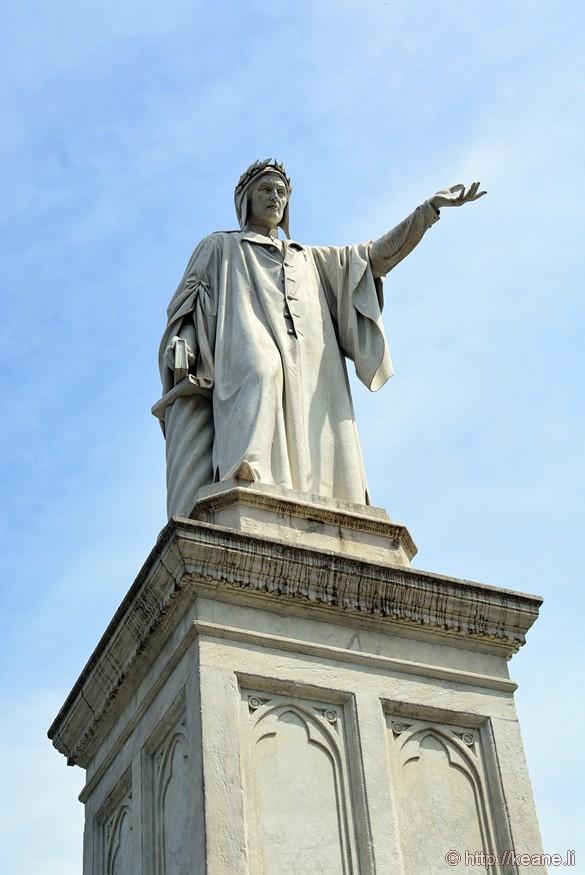 Statue of Dante in Piazza Dante in Naples