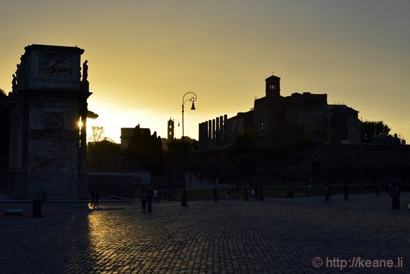 Arco di Costantino and the Foro Romano at Sunset