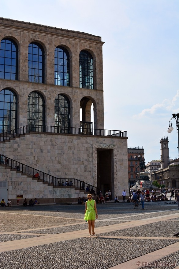 Girl with Yellow Dress in Piazza del Duomo in Milan