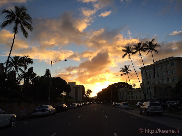Oahu - Sunset Over Punchbowl Street in Downtown Honolulu