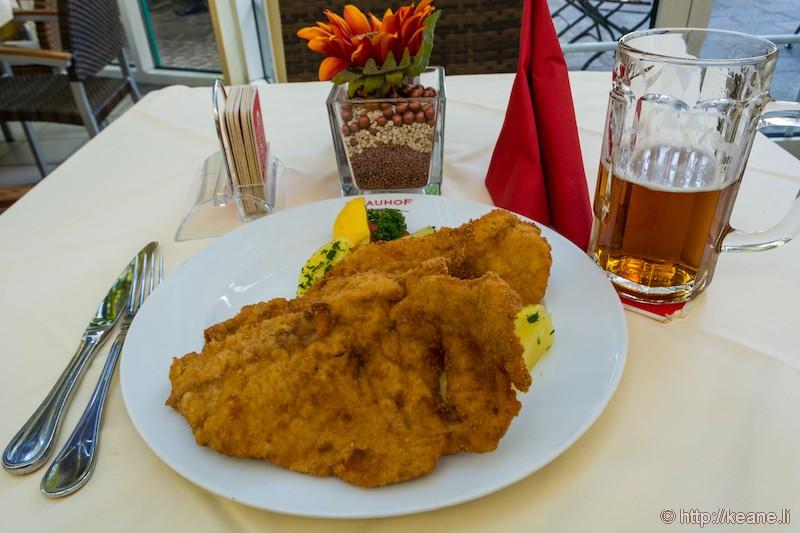 Wienerschnitzel at Villacher Brauhof in Villach, Austria