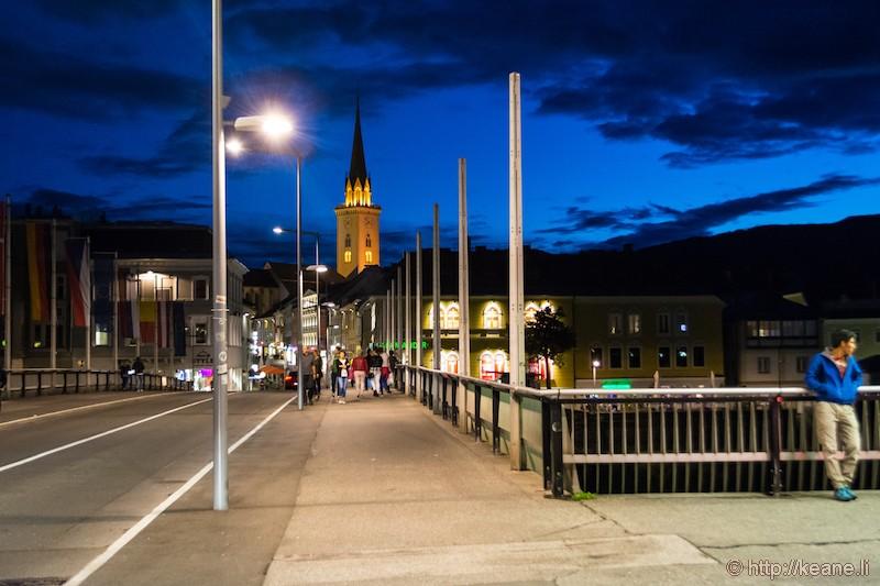 Villach Bahnhofstrasse Bridge at Night