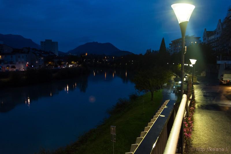 Drava River at Night in Villach, Austria