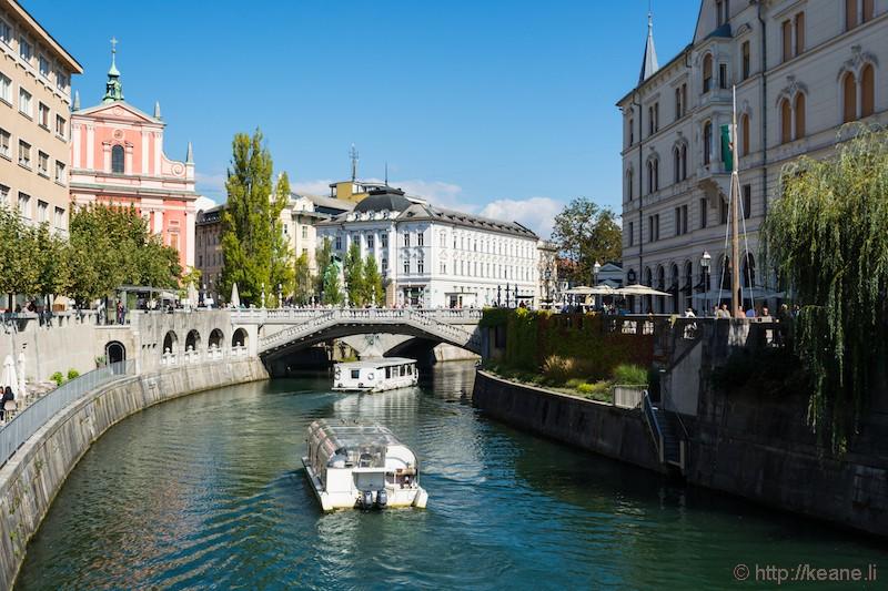 Ljubljanica River in Ljubljana Central District