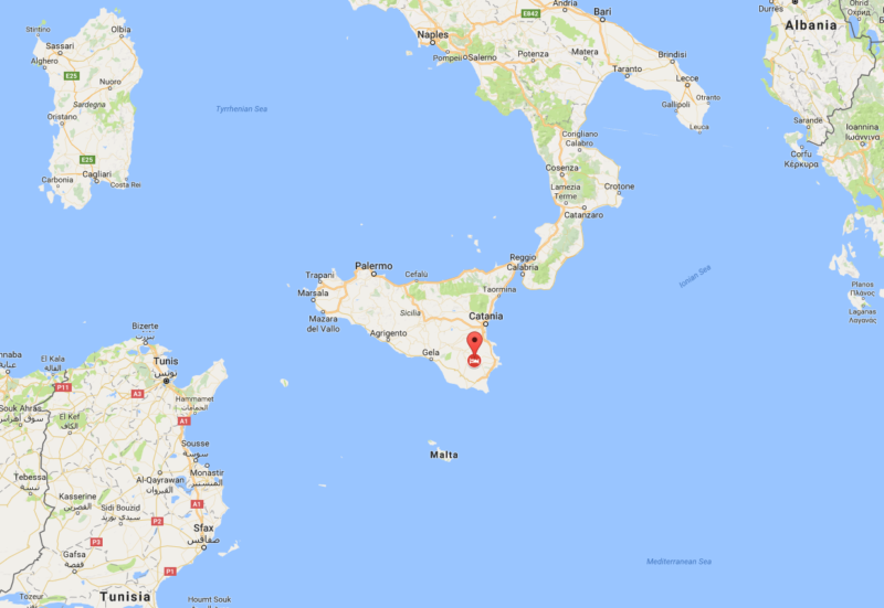 Map of Palazzolo Acreide in Italy